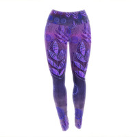 "Marianna Tankelevich ""Summer Night"" Purple Lavender Yoga Leggings"