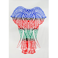 Small Blue  Red Multi Asian Elephant Tapestry on RoyalFurnish.com
