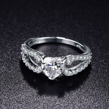 Beautiful Heart Love Rings 18K Platinum Plated Micro Pave AAA Cubic Zirconia Rings For Women Gift Accessories CRI0144-B