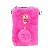 Pink Faux Fur Pom Pom Keychain Clutch Chain Purse