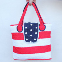 "Summer Crochet bag ""American flag""  with two handles/ decorated with white star buttons / Red, white and blue colors/ American flag bag"