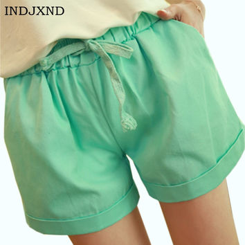 INDJXND New Straight Loose Large Size Candy Color Summer Shorts Women's Thin Section Elastic Drawstring Casual Beach Hot Trunks