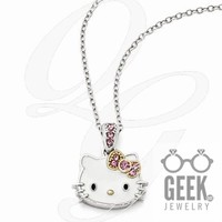 Sterling Silver Hello Kitty Enamel/Pink Crystal W/Gold-Tone Necklace