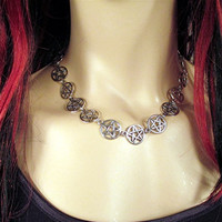 Pentagram /  Pentacle Necklace /Choker Wiccan/Pagan/Goth