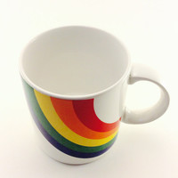 Vintage 1984 F.T.D.A. Rainbow Coffee Mug Cup as seen on The View by Raven Samone