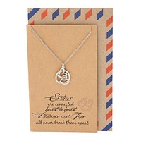 Abigail Heart Best Friend Necklaces Sister Jewelry Quotes Card