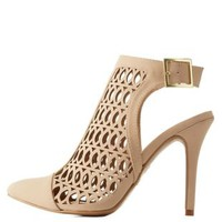 Nude Laser-Cut Slingback Pointed Toe Pumps by Charlotte Russe