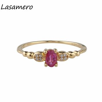LASAMERO Ring For Women 0.27CT Oval Shape Natural Ruby Diamond Accents Art Deco Style 18k Yellow Gold Engagement Wedding Ring