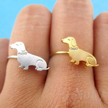 Dachshund Sausage Dog with Rhinestone Collar Shaped Adjustable Ring in Silver or Gold