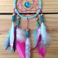 Aqua & Fuschia dream catcher car decor