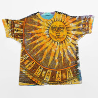 Vintage 90s Zodiac Allover Print T-SHIRT / 1990s Tie-Dye Oversized Hippie Sun & Moon Thrashed Tee Shirt