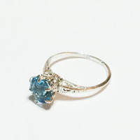 Art Deco Sterling Silver Ring, London Blue Topaz, Gemstone, Solitaire, Engagement Ring