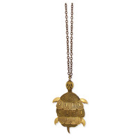 Gold Metal Turtle Pendant Necklace - Unique Vintage - Bridesmaid & Wedding Dresses