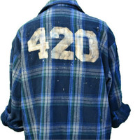 420 Marijuana Weed Flannel Vintage Quote 90s