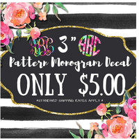 "Pattern 3"" Monogram Decal 