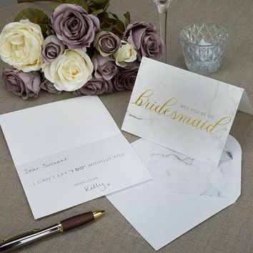 Scripted Marble - Bridesmaid Cards with Envelopes- Will you be my Bridesmaid Wedding day cards