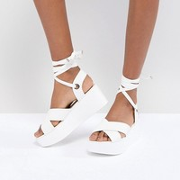 RAID Alma White Ankle Tie Flatform Sandals at asos.com