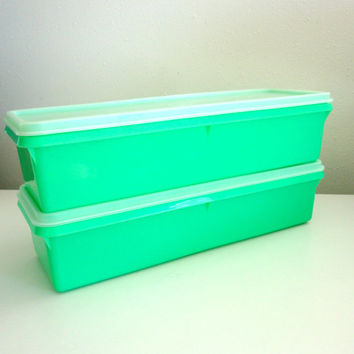 Vintage Tupperware Rectangle Containers with Lids in Green 1960s Colors