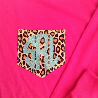LONG SLEEVE Monogram Cheetah Print Pocket T-Shirt Womens