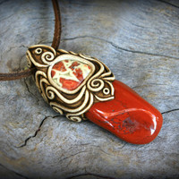 Crazy Lace Agate gemstone clay pendant red Jasper african tribal psychedelic charm wearable art