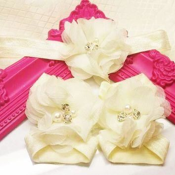 Cream Rhinestone and Pearl Chiffon Flowers Headband and Barefoot Sandal Set