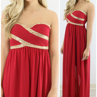 Ritzy Romance Red & Gold Sequin Maxi Cocktail Dress