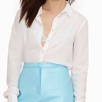 Blue Leather Hip Pocket Mini Skirt