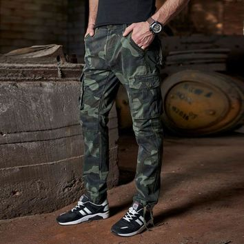 Free shipping 2017 Spring Men army camouflage pants Military Loose Cargo Trousers Pocket Joggers pantalon homme 032111