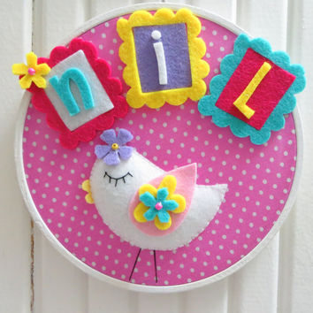 Cute White Bird, White Wooden Hoop Framed, Personalized Name Baby Wall Art, For Baby Girl