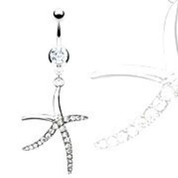 Body Accentz® Belly Button Ring Navel Pave Gemmed Starfish Body Jewelry 14 Gauge HO573