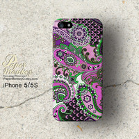 Purple and green Pailays indian abstract floral, iPhone 5/5S case, iPhone 4/4S case, Decoupage case for iPhone.
