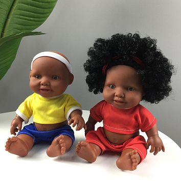 Movable Joint Silicone Reborn Black Doll For Kids