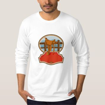 Western Saddle Old Style Oval Retro T Shirt