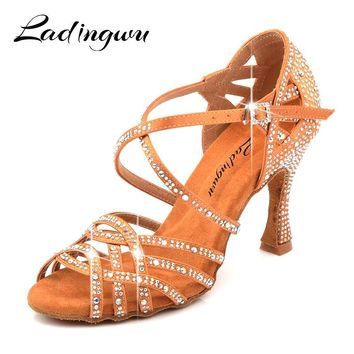Ladingwu Silk Satin Apricot And Bronze Latin Dance Shoes Champagne Color Rhinestone Salsa Dancing Shoes Woman zapatos de mujer