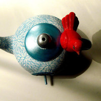 Red White and Blue Teapot Birdhouse Hand by PearlesPainting