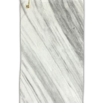 "White Marble Pattern Micro Terry Gromet Golf Towel 11""x19"" All Over Print by TooLoud"