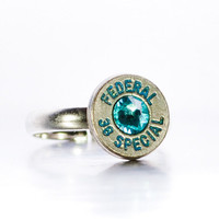 Simplistic Bullet Ring -Gunpowder and Glitz- Nickel and Blue with Blue Lettering