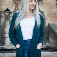 Wishlist Cable Knit Chunky Cardigan in Teal