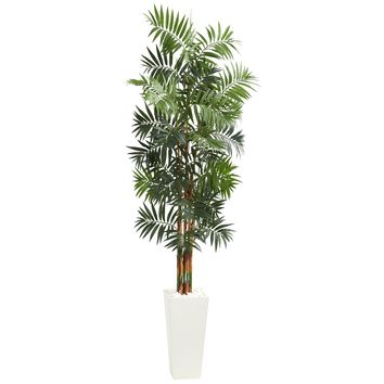 Artificial Tree -7 Foot Bamboo Palm Tree with White Tower Planter