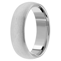 Brushed Classic Domed Platinum Wedding Band Comfort-Fit Ring