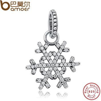 Original 925 Sterling Silver CUBIC ZIRCONIA SNOWFLAKE SILVER PENDANT Charm Fit Bracelet Necklace Jewelry Making PAS042