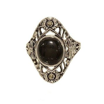 Antique Reproduction Silvertone Fashion Ring with Cabachon of Black Onyx and Tiny Marcasite