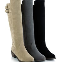 Womens Trendy Knee High Casual Riding Buckle Heel Boots