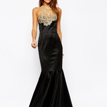 Lipsy VIP Maxi Dress with Lace Applique Neck Detail