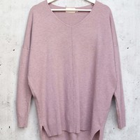 dreamers by debut - Super Soft And Cozy sweater with front seam detail - Heather Lilac