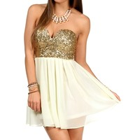 Sale-ivory/gold Strapless Sequin Tunic