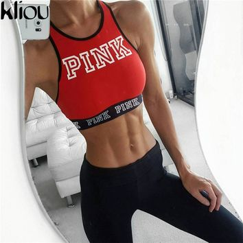 Kliou 2017 red print letters Tanks Women Seamless workout Bra Tops Leisure fitness Crop Sexy Tank Beach Vest With Chest sporting