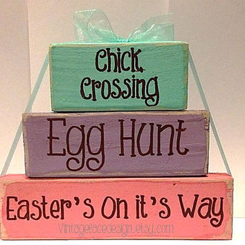 Chick Crossing Egg Hunt Easter's On It's Way Wood Blocks Easter Decor Easter Wood SIgn Easter Blocks Primitive Block Decor
