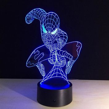Spiderman shape Night Light 3D color changing Illusion lamp