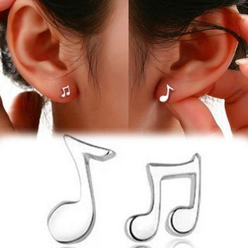 DKF4S Trendy Lovely Musical Note Shaped Silver Plated Woamn Earrings Charming Jewelry Accessories EAR-0511